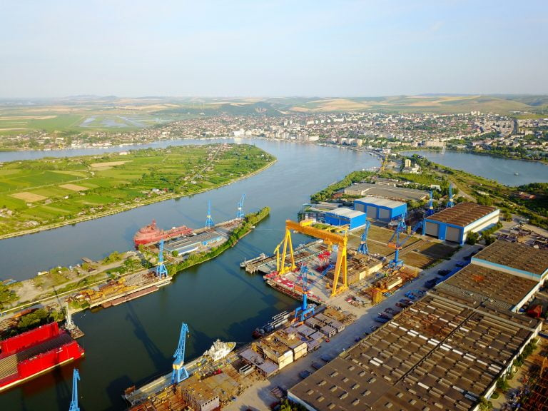 Shipyard on the Danube river aerial view